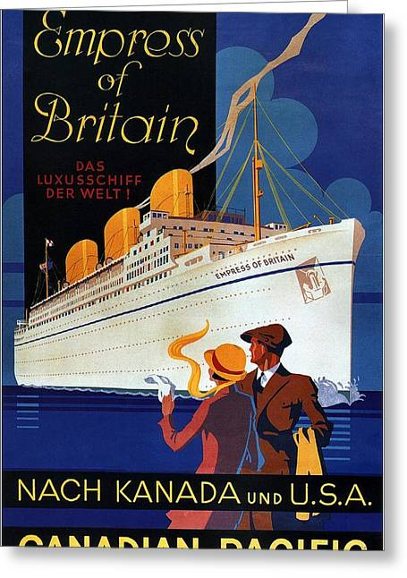 Canadian Pacific - Hamburg-berlin - Empress Of Britain - Retro Travel Poster - Vintage Poster Greeting Card