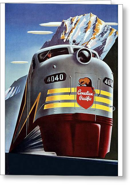 Canadian Pacific - Railroad Engine, Mountains - Retro Travel Poster - Vintage Poster Greeting Card