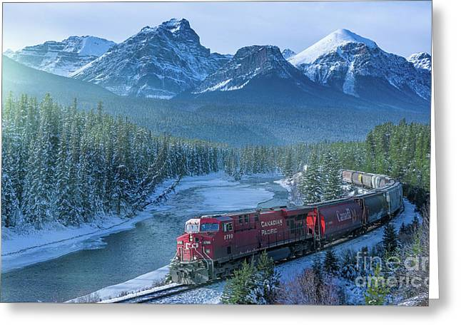 Canadian Pacific Railway Through The Rocky Mountains Greeting Card by Rod Jellison