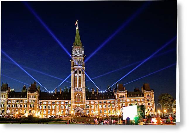 Canadian Parliament At Night Greeting Card