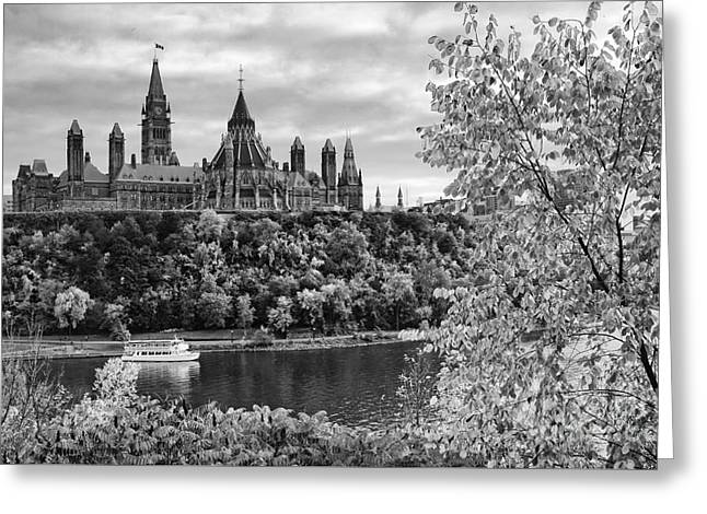 Canadian Parliament Hill Black White Greeting Card