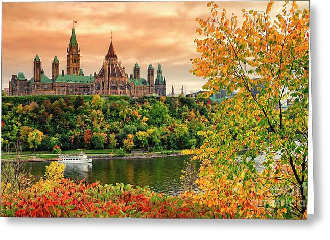 Canadian Parliament Hill In Autumn Greeting Card