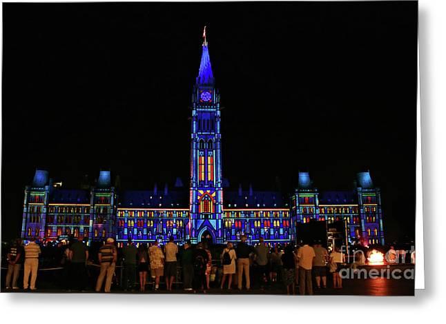 Canadian Parliament Light Show Greeting Card