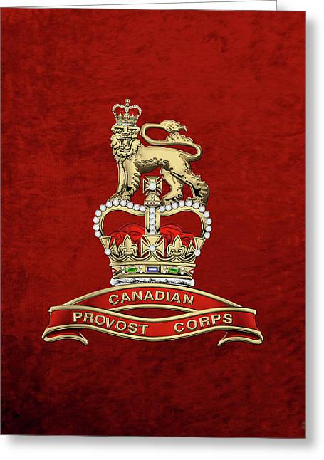 Canadian Provost Corps - C Pro C Badge Over Red Velvet Greeting Card by Serge Averbukh