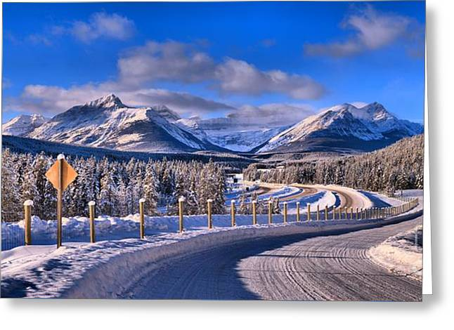 Canadian Rockies Highway Greeting Card by Adam Jewell
