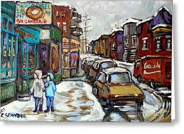 Canadian Winter Paintings Rue St Viateur Boulangerie Best Authentic Montreal Original Art Greeting Card by Carole Spandau