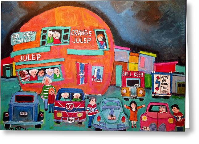 Canadien's Bus At The Orange Julep Greeting Card by Michael Litvack