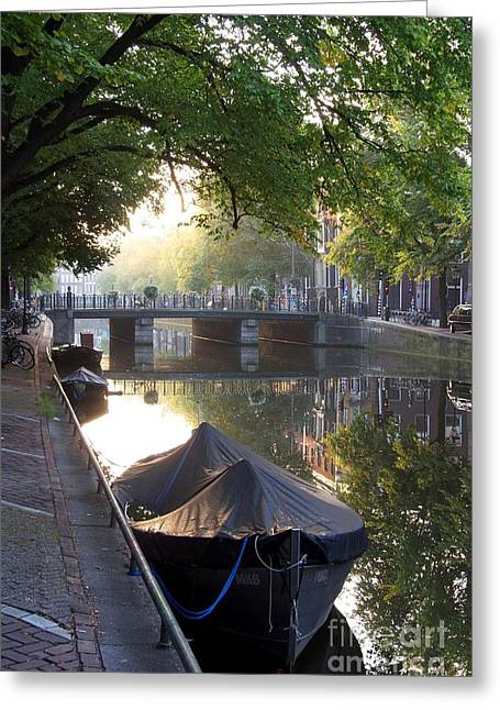 Canal And Boat. Amsterdam. Netherlands. Europe Greeting Card
