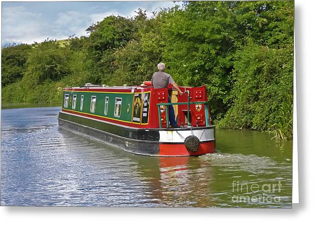 Canal Boat Greeting Card by Terri Waters