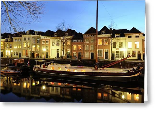 Canal Brede Haven In 's-hertogenbosch With A Historic Boat Greeting Card by Merijn Van der Vliet