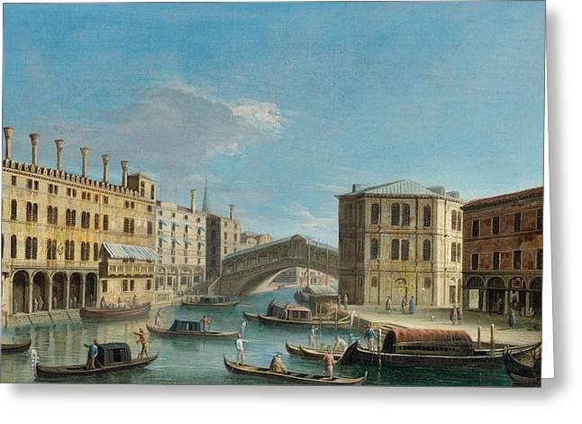 Canal Grande Overlooking The Rialto Bridge Greeting Card by Apollonio Domenichini