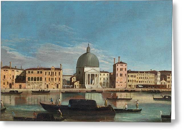 Canal Grande With The Church Of San Simeone Piccolo Greeting Card by Apollonio Domenichini