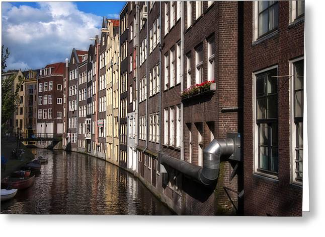Canal Houses Greeting Card by Joan Carroll