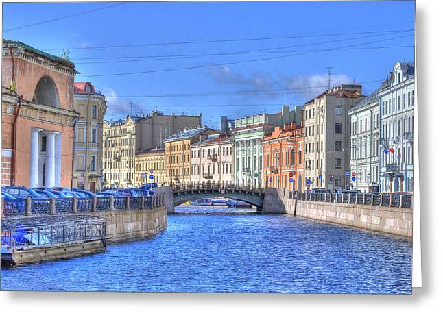 Canal In St. Petersburgh Russia Greeting Card by Juli Scalzi