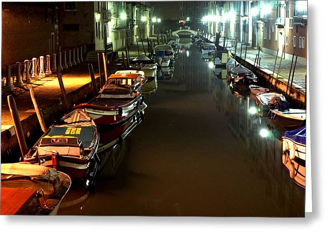 Canal In Venice At Night Greeting Card by Michael Henderson