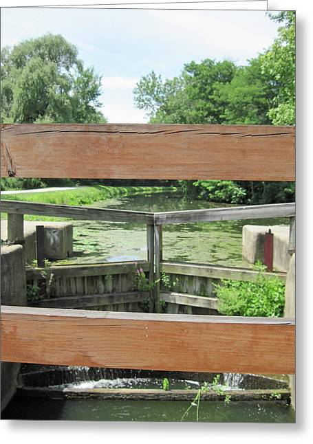 Canal Lock With A View Greeting Card by Diane Stresing