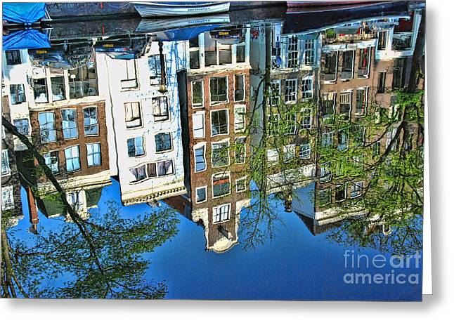Greeting Card featuring the photograph Amsterdam Canal Reflection  by Allen Beatty