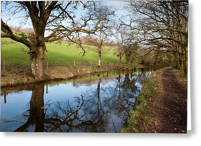 Canal Reflections Greeting Card by Helen Northcott