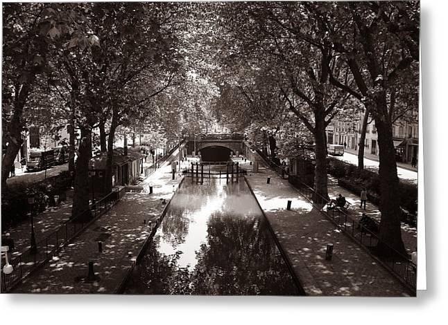 Saint-martin Greeting Cards - Canal Saint Martin 2 Greeting Card by Andrew Fare