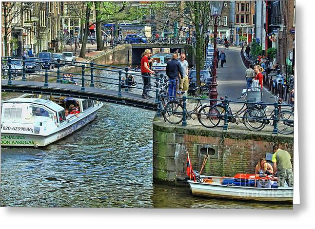 Greeting Card featuring the photograph Amsterdam Canal Scene 1 by Allen Beatty