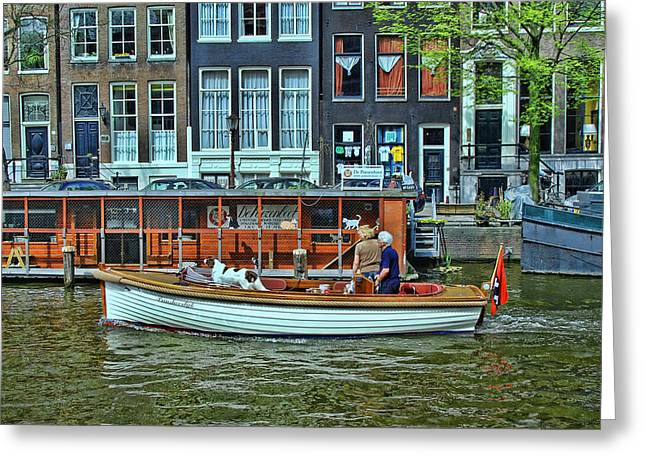 Greeting Card featuring the photograph Amsterdam Canal Scene 10 by Allen Beatty
