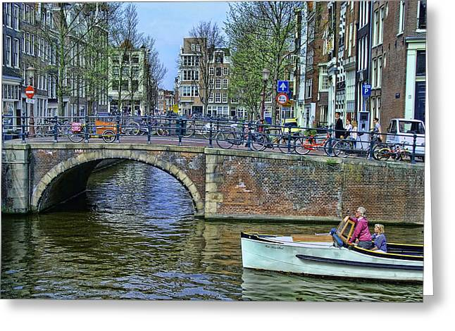 Greeting Card featuring the photograph Amsterdam Canal Scene 3 by Allen Beatty