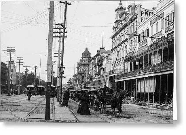 Canal St. New Orleans Ca 1880  Greeting Card by Jon Neidert