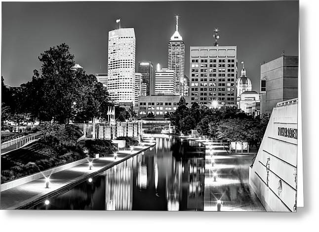 Canal Walk To Indianapolis Indiana's Skyline - Black-white Greeting Card by Gregory Ballos