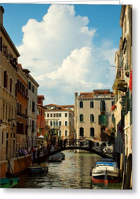 Canal With Iron Bridge In Venice Greeting Card by Michael Henderson