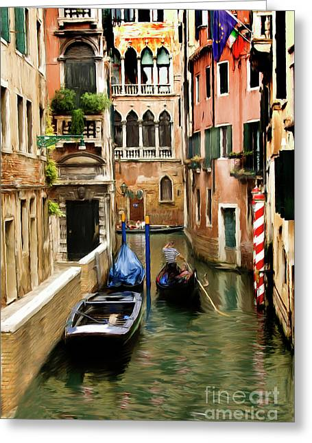 Canals Of Venice Greeting Card by Susan  Lipschutz
