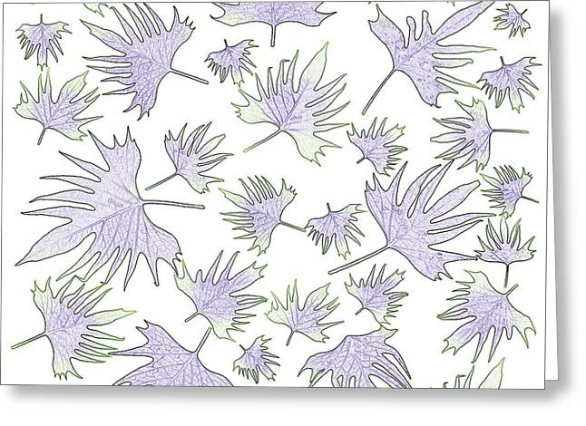 Canary Vine Leaves - Purple And Green Greeting Card by Sandra Foster
