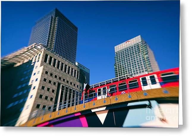 Canary Wharf Commute Greeting Card by Jasna Buncic