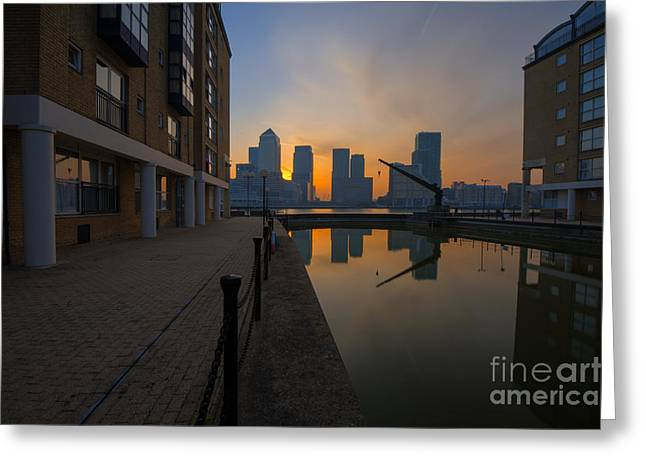 Canary Wharf Sunrise Greeting Card by Donald Davis