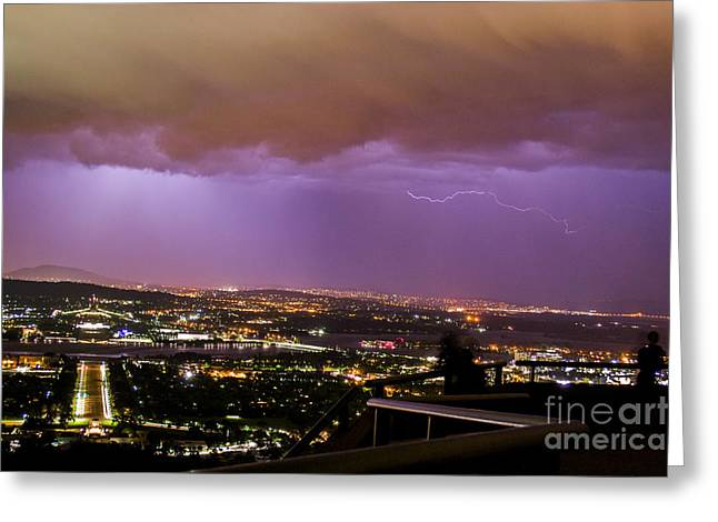Greeting Card featuring the photograph Canberra Lightning Storm by Angela DeFrias