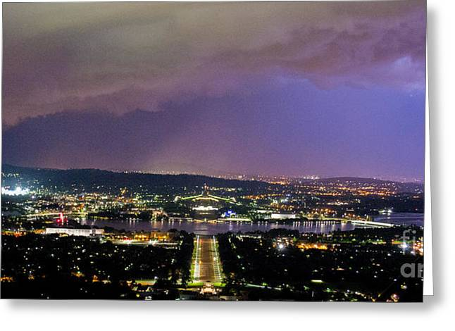 Greeting Card featuring the photograph Canberra Stormy Night by Angela DeFrias