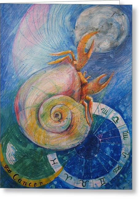 Calendar Drawings Greeting Cards - Cancer Greeting Card by Brigitte Hintner