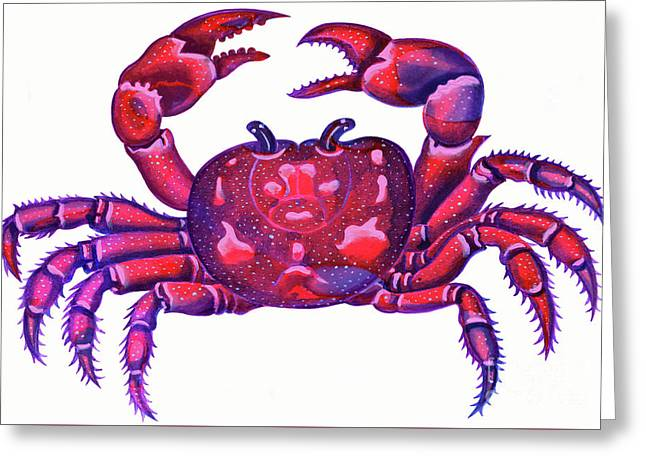 Cancer The Crab Greeting Card by Jane Tattersfield