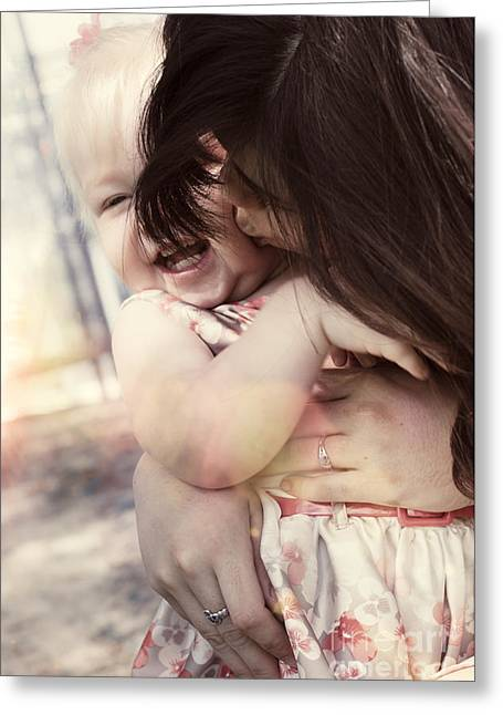 Candid Little Girl With Mother In The Autumn Park Greeting Card by Jorgo Photography - Wall Art Gallery