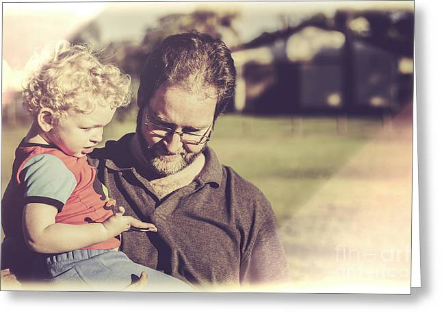 Candid Retro Father And Son Talking Greeting Card