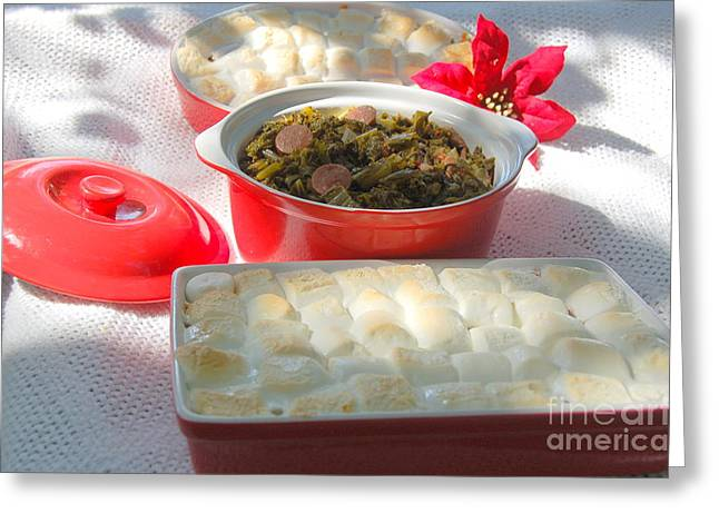 Candied Yams And Southern Greens Greeting Card