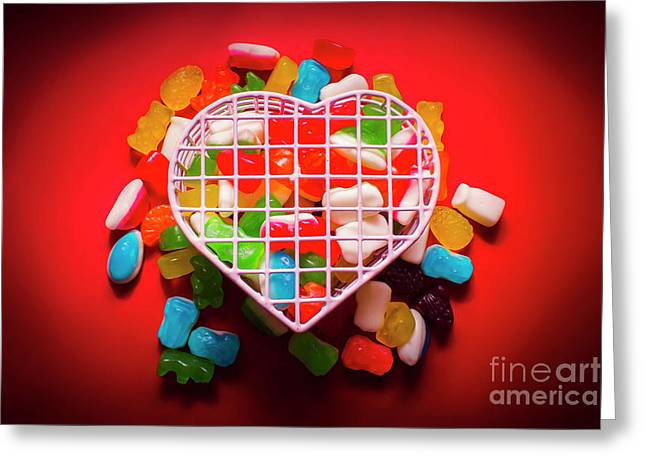 Candies And Hearts Greeting Card by Jorgo Photography - Wall Art Gallery