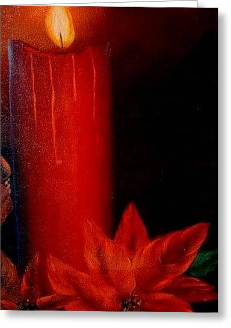 Candle And Poinsettia Greeting Card