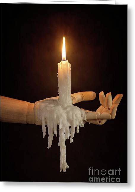 Candle In Wooden Hand Greeting Card