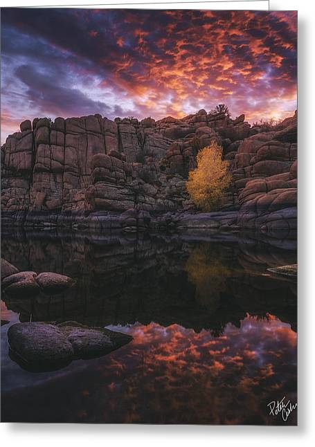 Candle Lit Lake Greeting Card