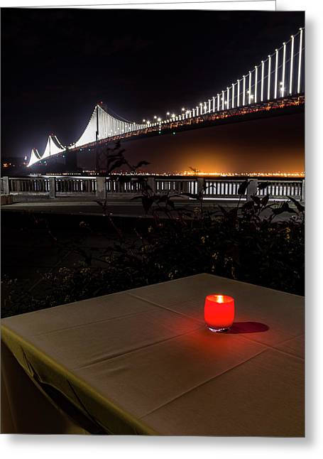 Greeting Card featuring the photograph Candle Lit Table Under The Bridge by Darcy Michaelchuk