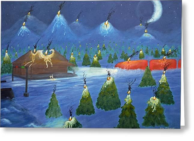 Candle Mountain Express Greeting Card by Ken Figurski