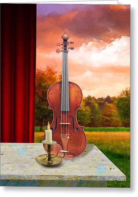 Candle With Violin Greeting Card by Gary Grayson