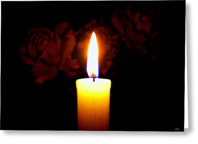 Candlelight And Roses Greeting Card by Will Borden