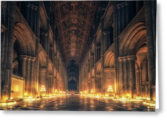 Greeting Card featuring the photograph Candlemas - Nave by James Billings