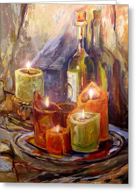 Candles And Wine Bottle Greeting Card by Peggy Wilson